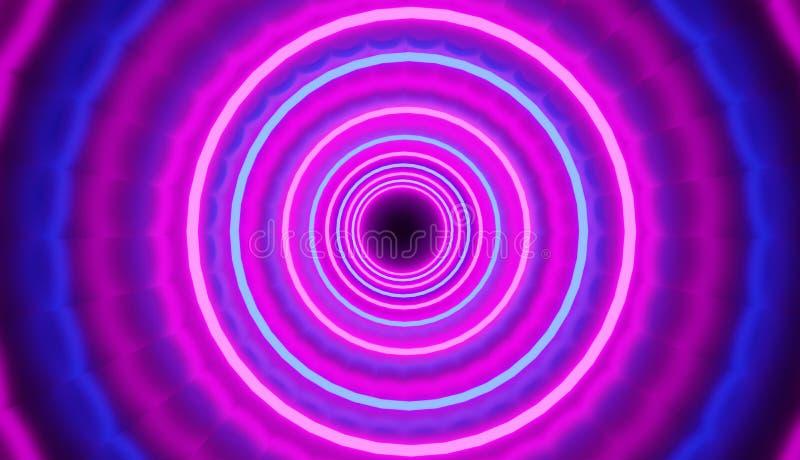 De kleurrijke blauw-roze achtergrond met cirkelstunnel geeft, retro partijstijl terug royalty-vrije illustratie