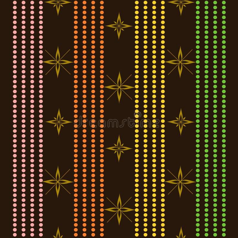 De kleurrijke Bloem en de parels ketenen Naadloze achtergrond stock illustratie