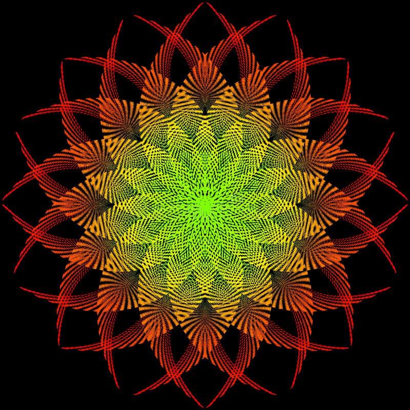 De kleurrijke bloem of de ster zijn geïsoleerd op zwarte achtergrond Modieuze Vectorillustratie voor Webontwerp stock illustratie