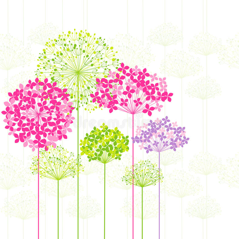 De Kleurrijke Bloem van de lente op de Achtergrond van de Paardebloem stock illustratie