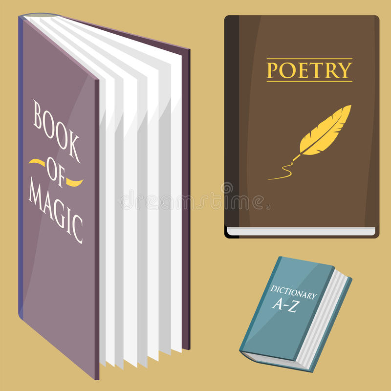 De kleurrijke boek vectorillustratie leert de literatuurstudie gesloten het documenthandboek van de onderwijskennis opende stock illustratie