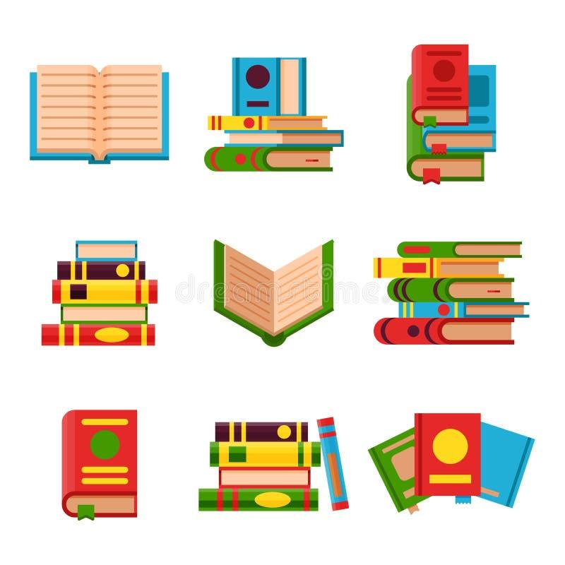 De kleurrijke boek vectorillustratie leert geopend en gesloten literatuurstudie het documenthandboek van de onderwijskennis royalty-vrije illustratie