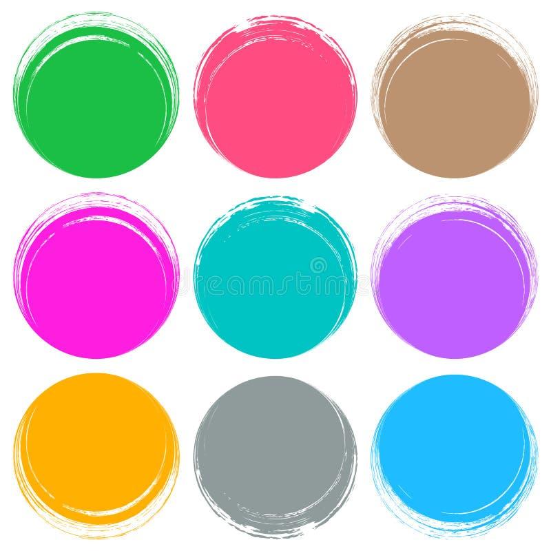 De kleurrijke borstelslagen omcirkelen knopen royalty-vrije illustratie