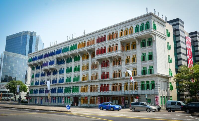 De kleurrijke bouw bij de stad in in Singapore stock fotografie