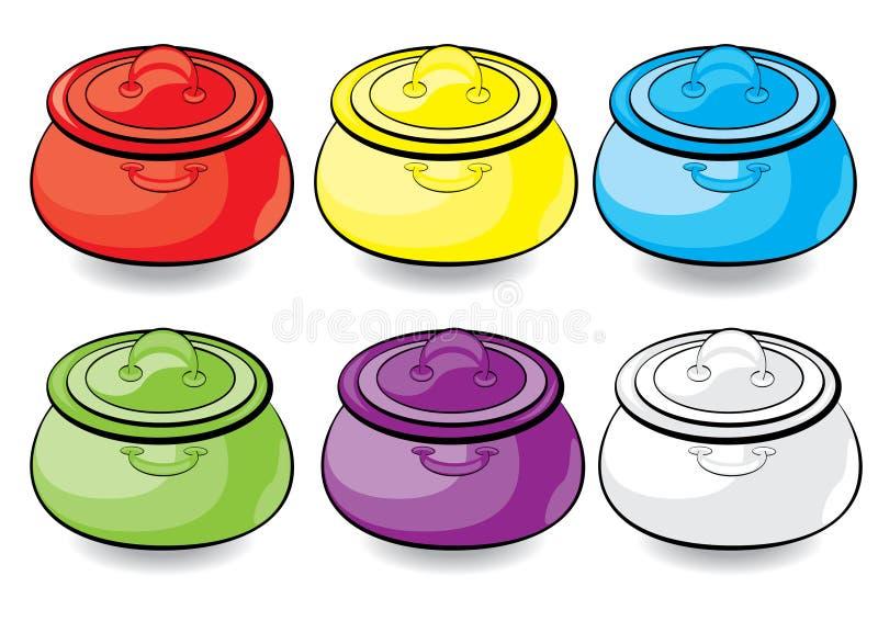 De kleurrijke braadpan van het beeldverhaal stock illustratie