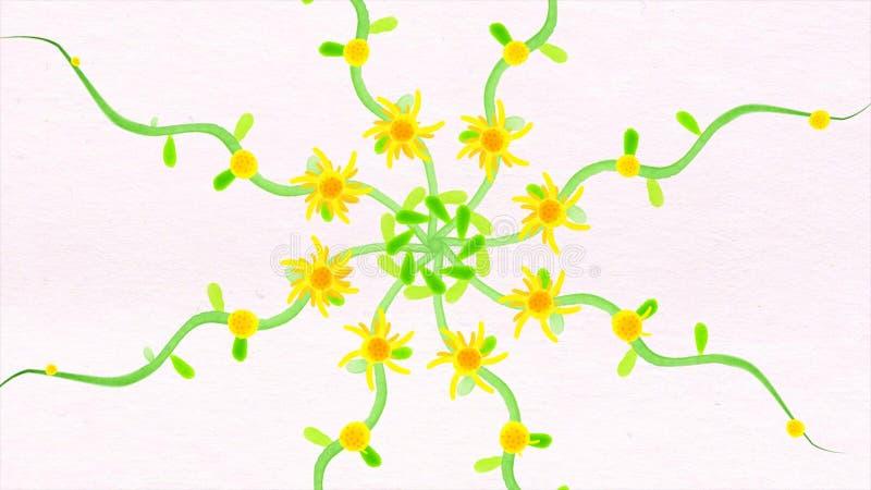 De kleurrijke caleidoscoopbloem stippelt patronen met waterverfdocument textuur Abstracte multicolored motiegrafiek stock illustratie