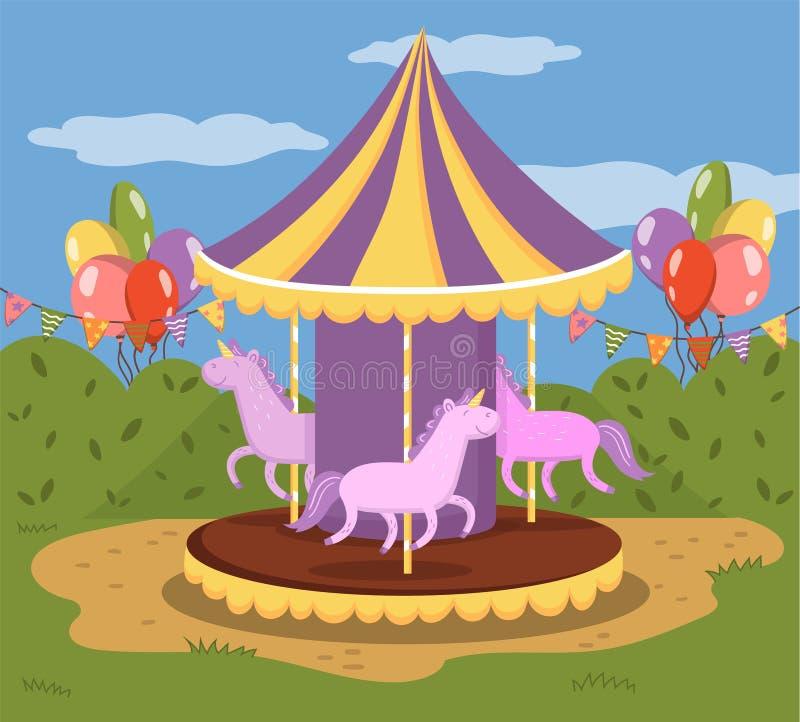 De kleurrijke carrousel met vrolijke paarden, gaat rond in een pretpark vectorillustratie, kleurrijk ontwerpelement voor vector illustratie