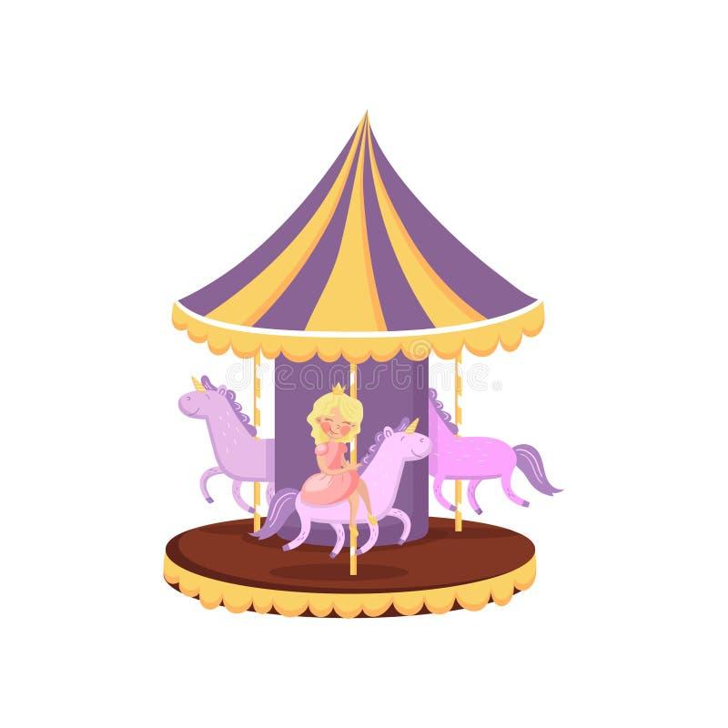De kleurrijke carrousel met vrolijke paarden, gaat rond in een vectorillustratie van het pretparkbeeldverhaal stock illustratie