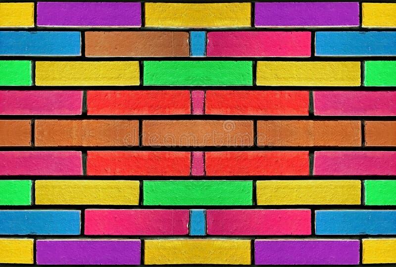 De kleurrijke concrete achtergrond van het bakstenen muurpatroon met helder paibnted kleuren De abstracte veelkleurige regenboog  stock afbeeldingen