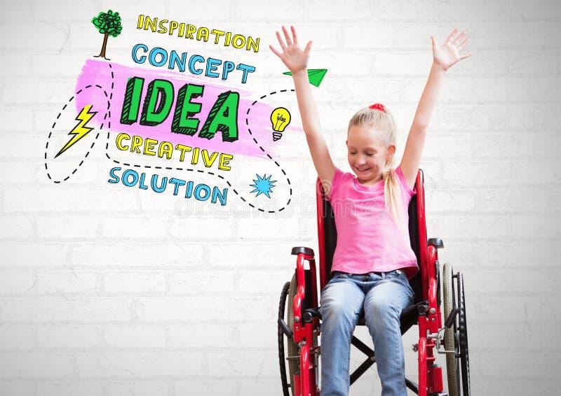 de kleurrijke Creatieve tekst van het conceptenidee en Gehandicapt meisje in rolstoel stock illustratie