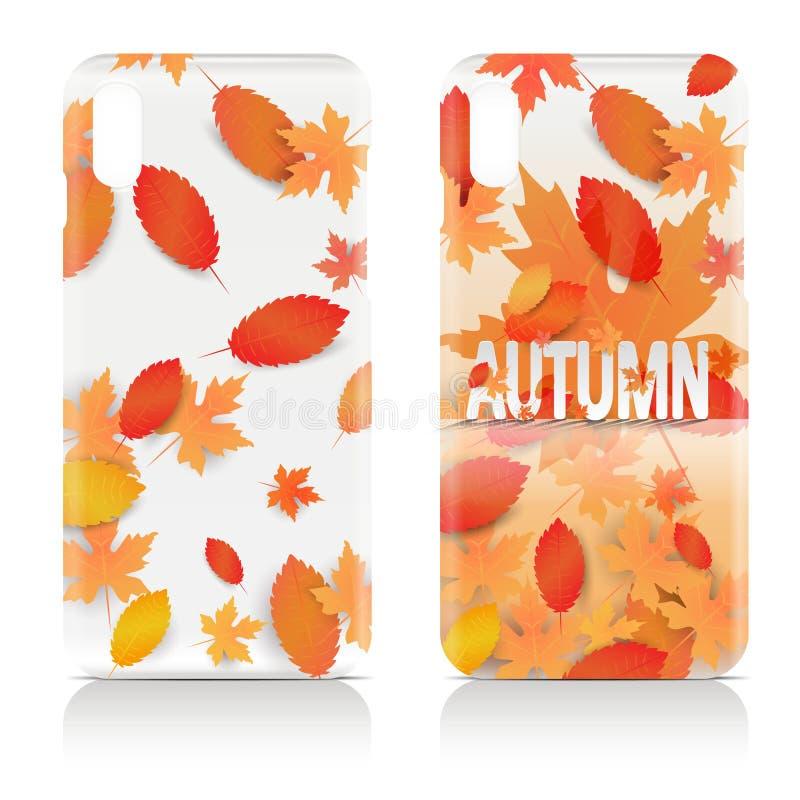 De kleurrijke die gevallen van de de herfsttelefoon op witte achtergrond worden geïsoleerd stock illustratie