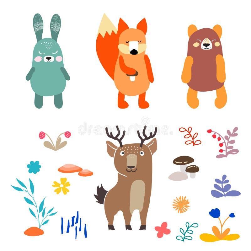 De kleurrijke die Illustratie met leuke herten, konijn, vos wordt geplaatst, draagt en bloemen voor voor ontwerp en decor Oosters royalty-vrije illustratie