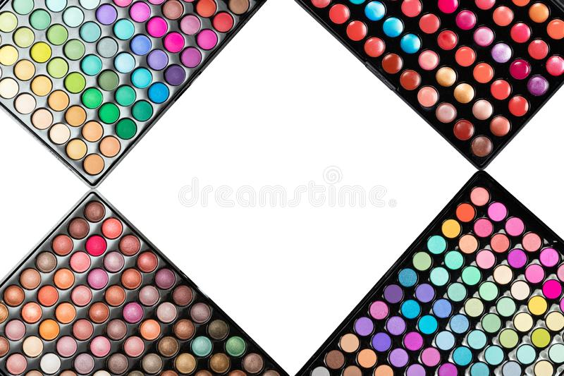 De kleurrijke die paletten van de samenstellingsoogschaduw op een witte achtergrond worden geïsoleerd royalty-vrije stock afbeeldingen