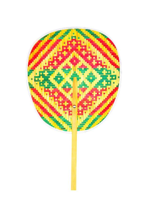 De kleurrijke die patronen van de bamboeventilator op witte achtergrond, de verticale textuur van het aardweefsel worden geïsolee stock fotografie