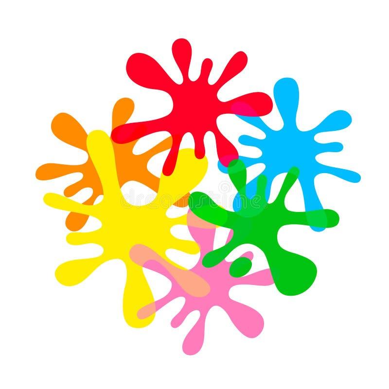 De kleurrijke die plons van de inktvlek op witte achtergrond, van de de plons kleurrijke, multikleur van het druppeltjewater het  stock illustratie