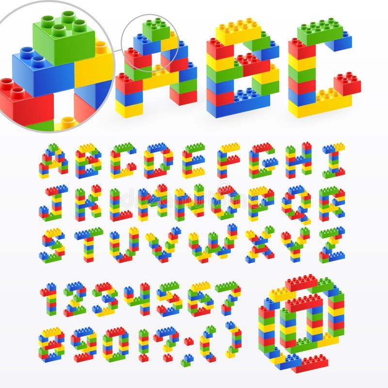 De kleurrijke doopvont van het baksteenspeelgoed met aantallen vector illustratie