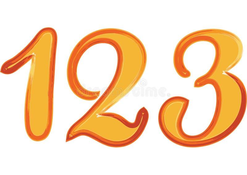 De kleurrijke doopvont van de waterverfborstel typt met de hand geschreven hand trekt krabbel nummer 123 stock illustratie