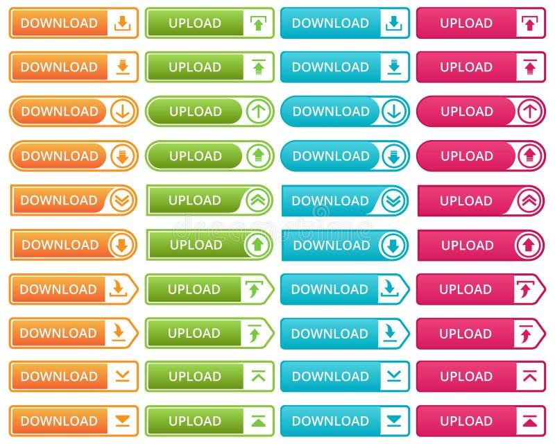 De kleurrijke download en uploadt knopen royalty-vrije illustratie