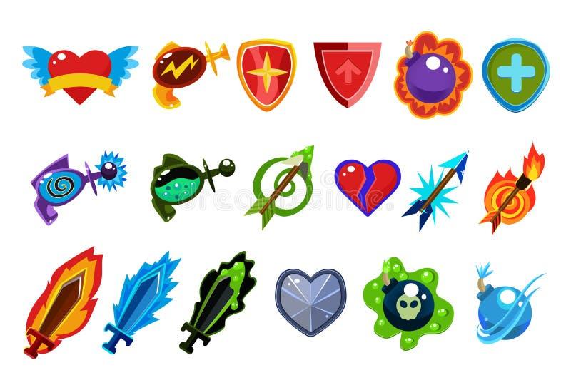 De kleurrijke elementen van de spelinterface Hart met vleugels, flessen met drankjes, defensieschilden, magische pijlen, bommen,  stock illustratie