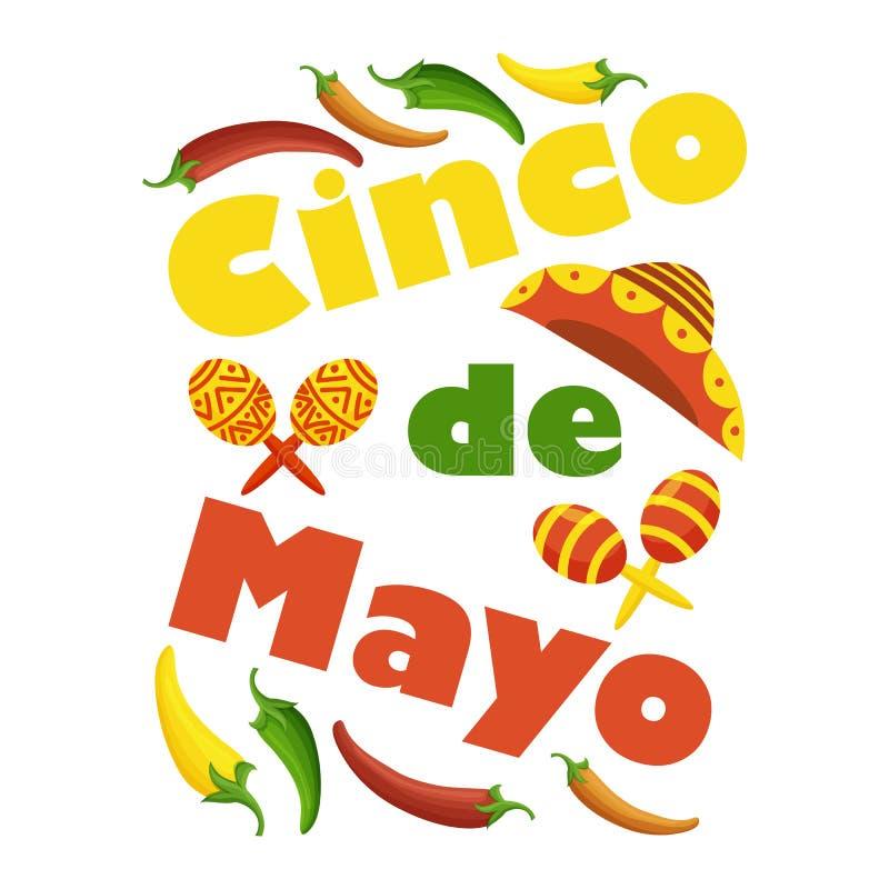 De kleurrijke feestelijke achtergrond van Cinco de Mayo met voorwerpen en symbolen royalty-vrije illustratie