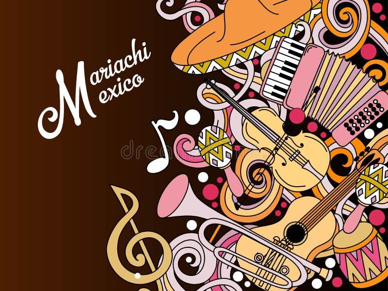 De kleurrijke feestelijke achtergrond van Mariachimexico vector illustratie