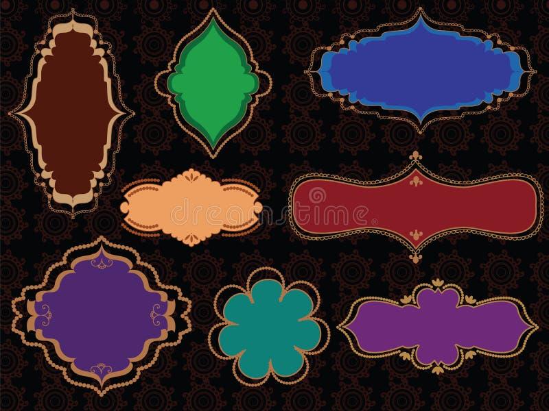 De kleurrijke Frames van de Henna stock illustratie