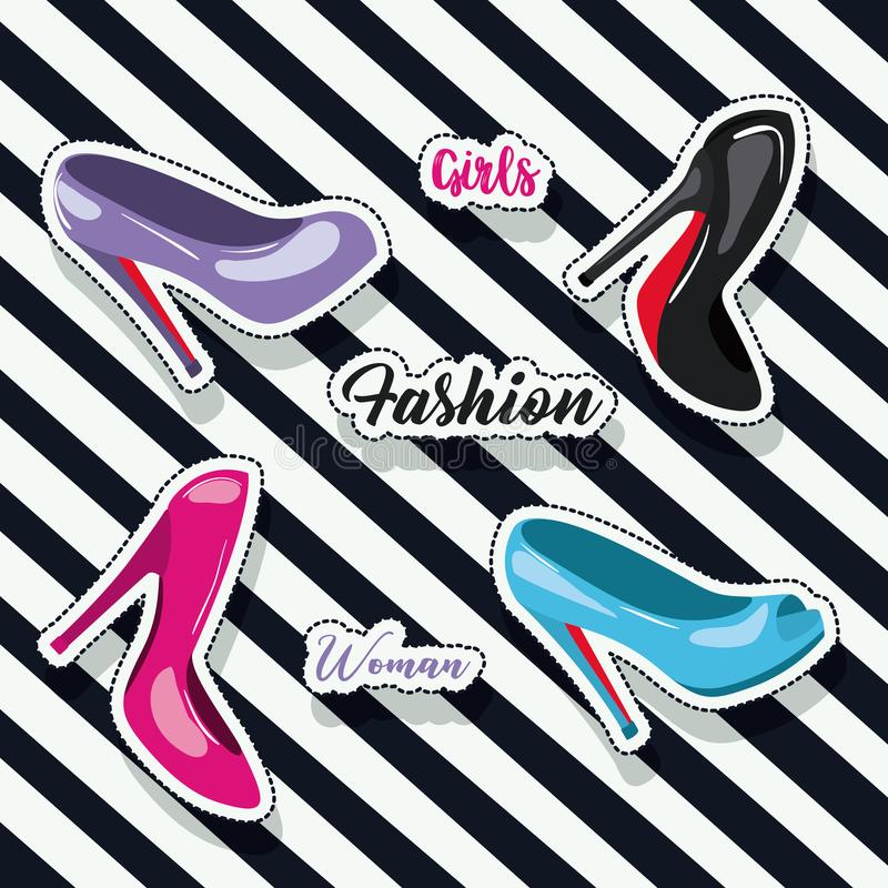 De kleurrijke gehielde schoenensticker en de tekst van meisjes vormen vrouw op pop-art diagonale lineaire achtergrond stock illustratie