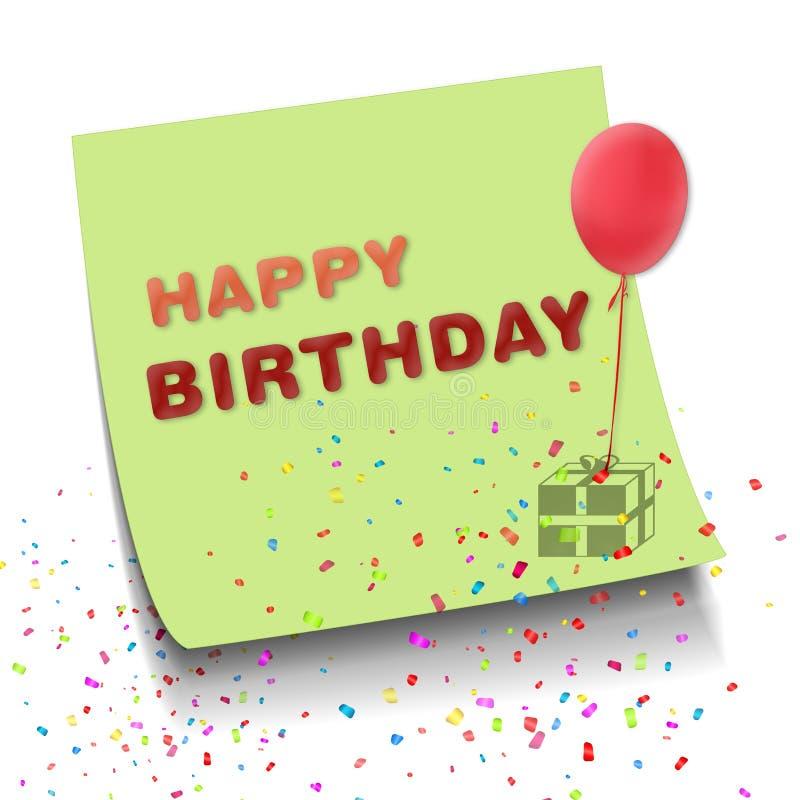 De kleurrijke Gelukkige de Verjaardagsnota van het Vangstoog viert met ballon royalty-vrije illustratie