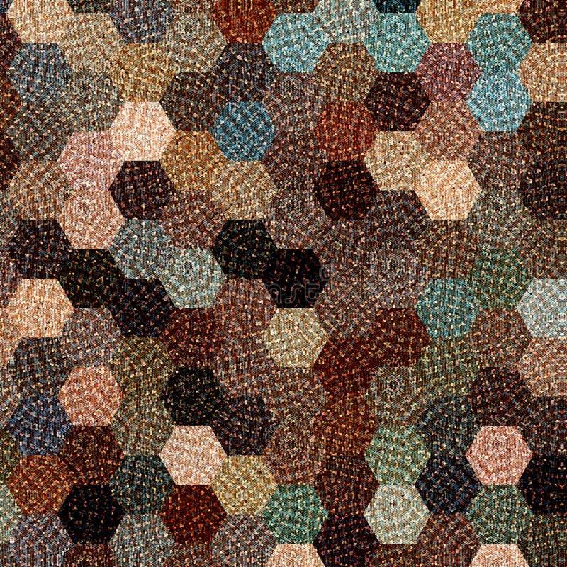 De kleurrijke geometrische achtergrond in pastelkleur bruin, blauw en beige met gebreid effect, vat hexagonaal patroon samen stock illustratie