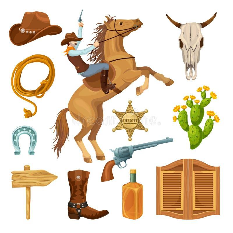 De kleurrijke Geplaatste Elementen van Wilde Westennen stock illustratie