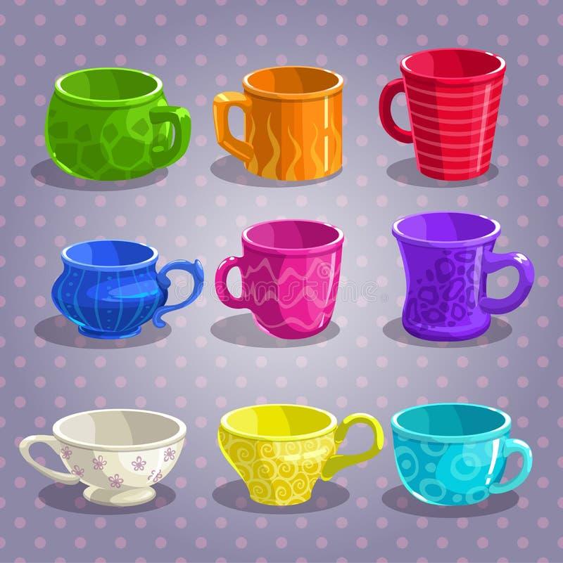 De kleurrijke geplaatste koppen van de beeldverhaalthee stock illustratie