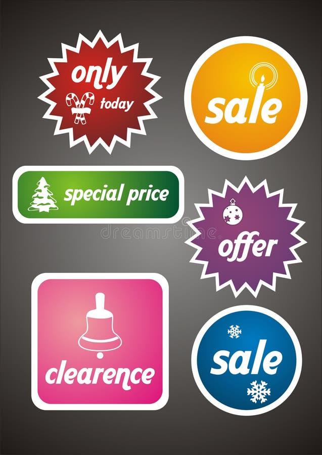 De kleurrijke Geplaatste Markeringen en de Stickers van de Verkoop van de Winter vector illustratie
