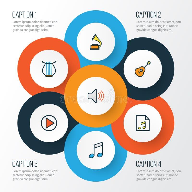 De Kleurrijke Geplaatste Overzichtspictogrammen van verschillende media Inzameling van Lijst, Volume, Geluid en Andere Elementen  stock illustratie