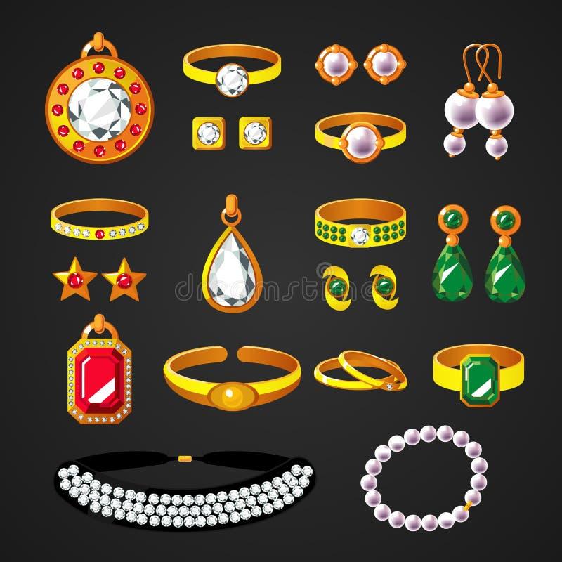 De kleurrijke Geplaatste Pictogrammen van Juwelentoebehoren stock illustratie