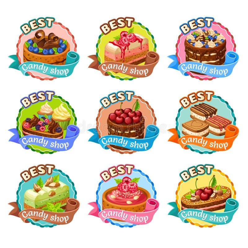 De kleurrijke Geplaatste Stickers van de Suikergoedwinkel royalty-vrije illustratie