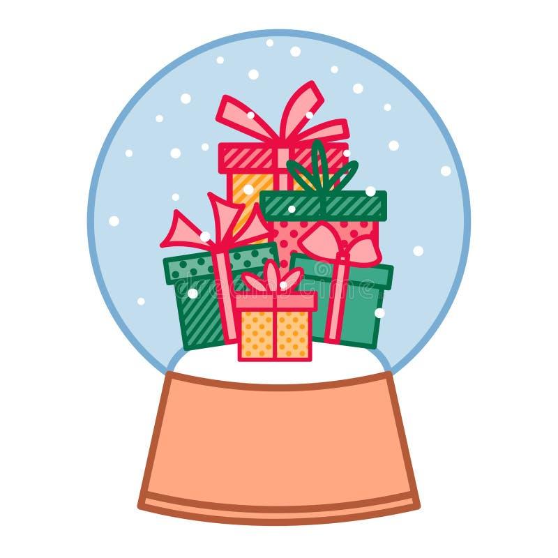 De kleurrijke giftdozen in Kerstmissneeuwbal, nieuw jaar stelt in kristallen bol, vector lineair art. voor royalty-vrije illustratie