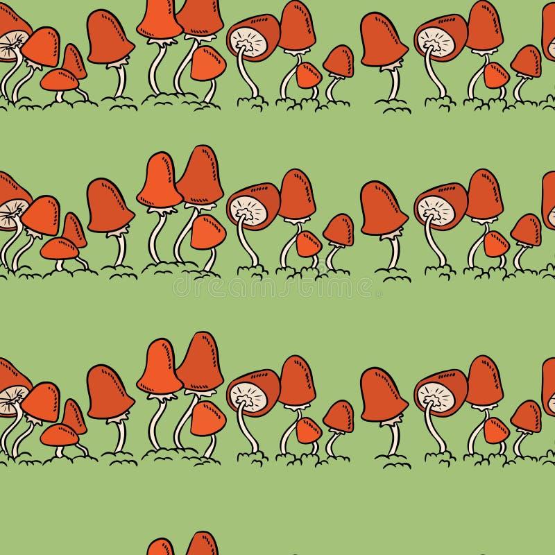 De kleurrijke grappige kunst schiet lijnen naadloos patroon als paddestoelen uit de grond royalty-vrije illustratie