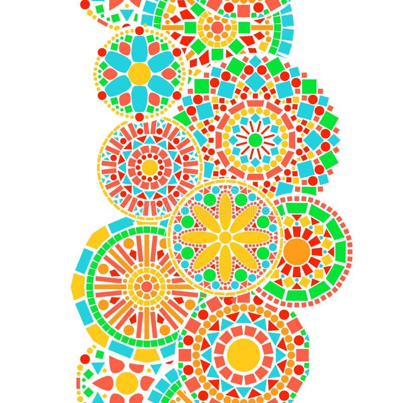 De kleurrijke grens van cirkel bloemenmandala in groen en oranje op wit naadloos patroon, vector stock illustratie