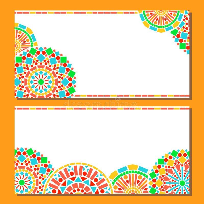 De kleurrijke grens van cirkels bloemenmandala in groen en oranje op wit, twee geplaatste kaarten, vector vector illustratie