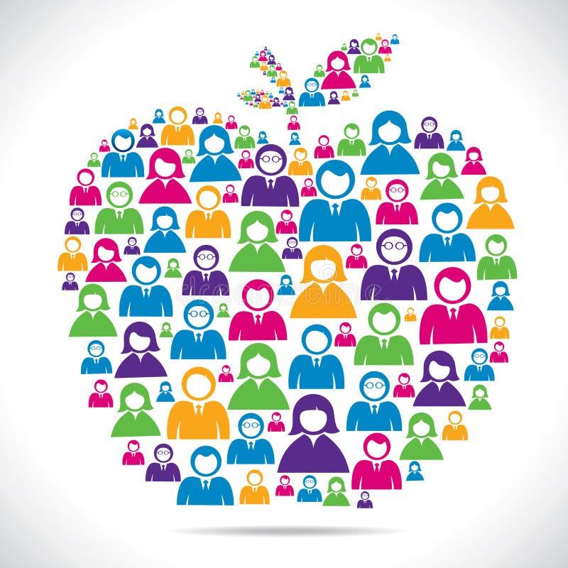 De kleurrijke groep mensen maakt appel royalty-vrije illustratie