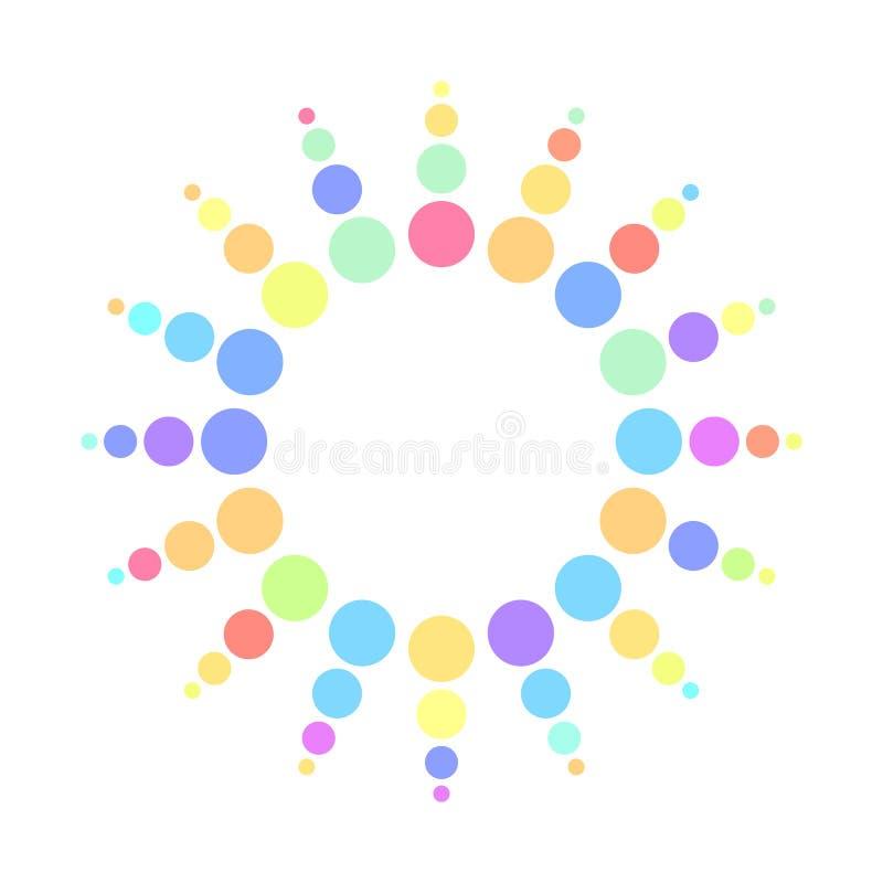 De kleurrijke halftone punten van het regenboogspectrum vector illustratie