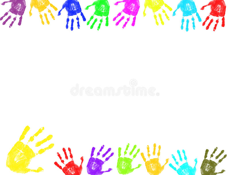 De kleurrijke hand drukt frame af royalty-vrije illustratie