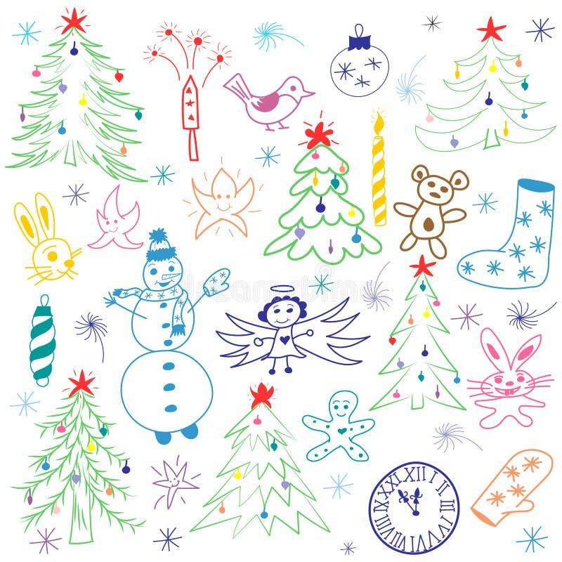 De kleurrijke Hand Getrokken Leuke Reeks van de Kerstmisschets Kinderentekeningen van Sneeuwman, Sparren, Kaars, Speelgoed, Engel stock illustratie