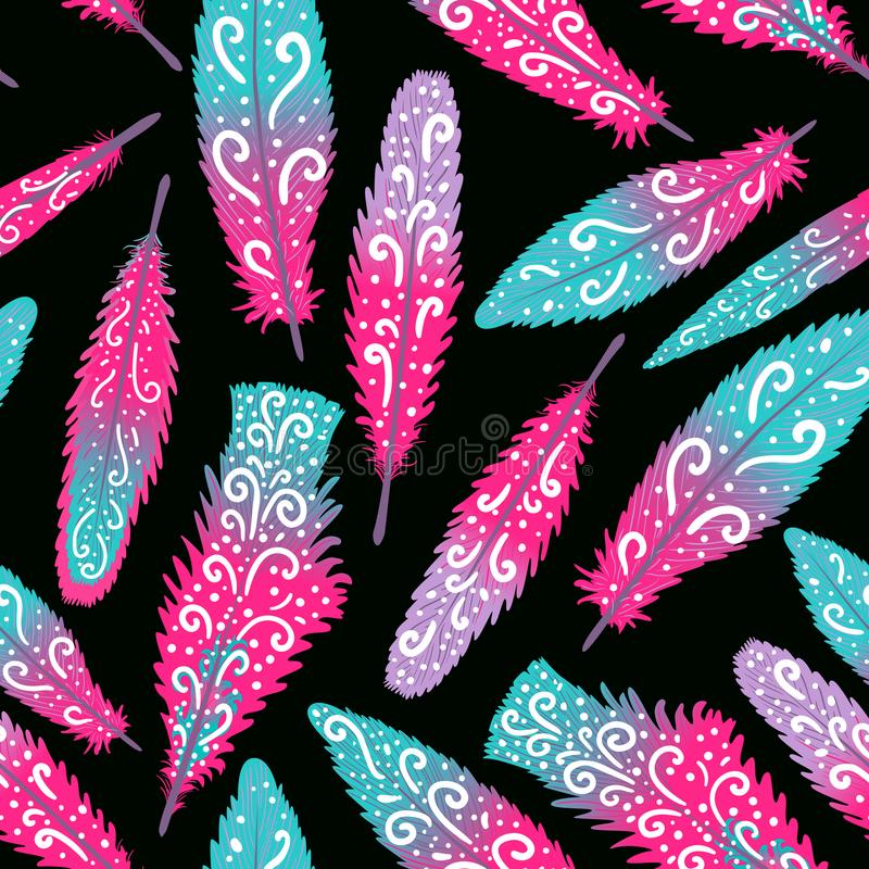 De kleurrijke hand getrokken wervelingen van de flamingoveer brigth Naadloos patroon Vectordieillustratie op dark wordt geïsoleer royalty-vrije illustratie