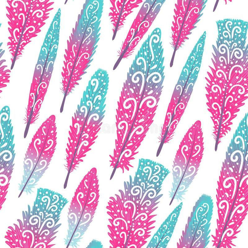 De kleurrijke hand getrokken wervelingen van de flamingoveer brigth Naadloos patroon Vectordieillustratie op wit wordt geïsoleerd royalty-vrije illustratie