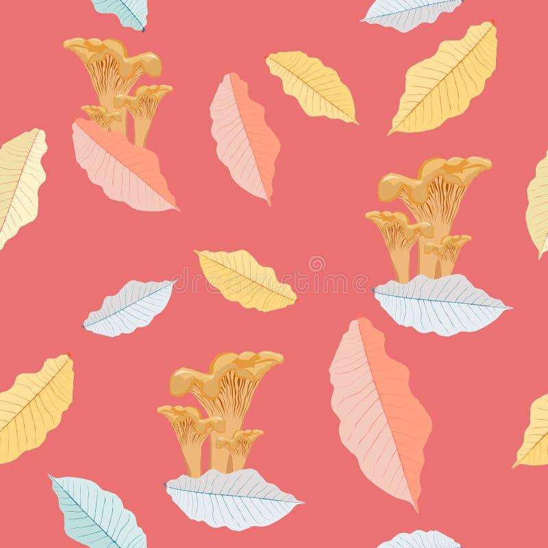 De kleurrijke herfst schiet naadloos vectorpatroon als paddestoelen uit de grond Bos beweging veroorzakend royalty-vrije illustratie