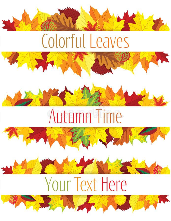 De kleurrijke herfst verlaat grens stock illustratie