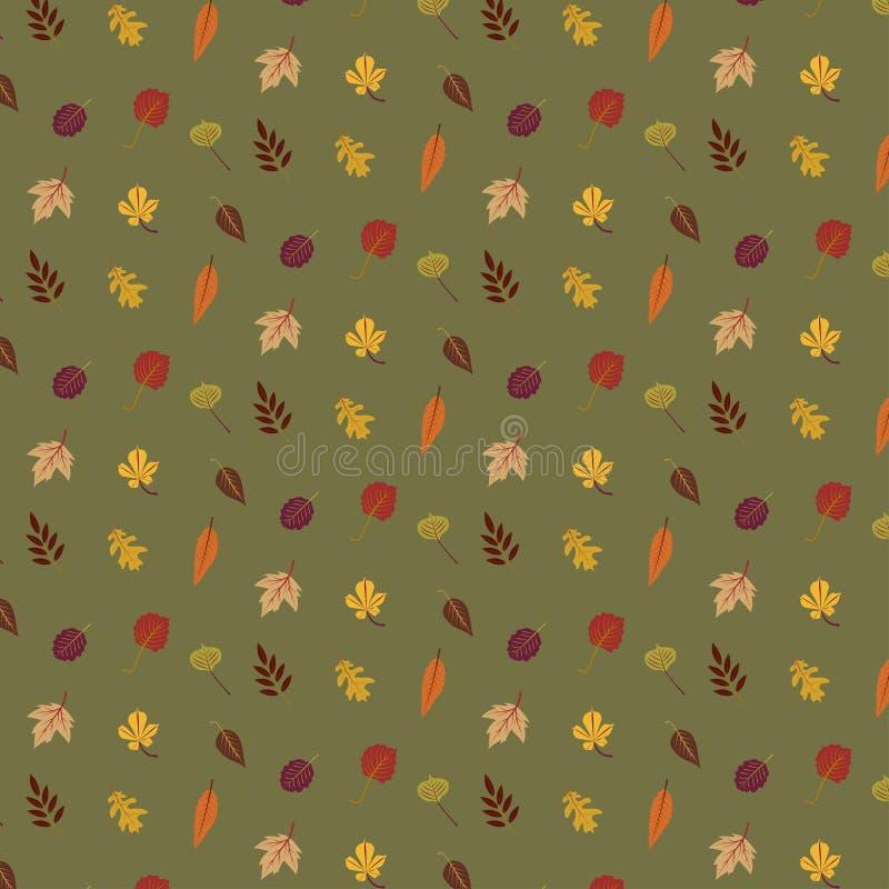 De kleurrijke herfst verlaat patroon dat op groene achtergrond wordt geïsoleerd royalty-vrije illustratie