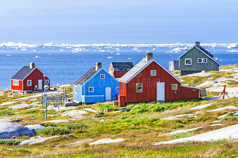 De kleurrijke huizen van Rodebay, Groenland stock foto's