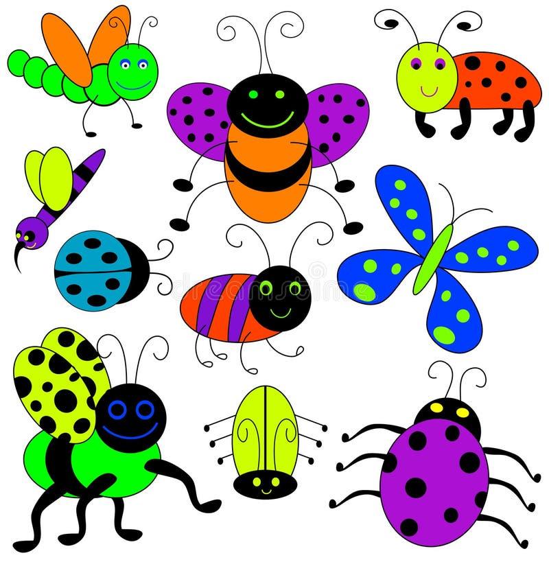 De kleurrijke Insecten van het Beeldverhaal vector illustratie